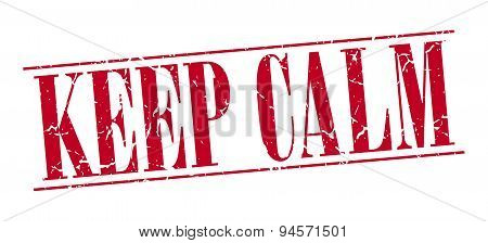 Keep Calm Red Grunge Vintage Stamp Isolated On White Background