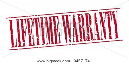 Lifetime Warranty Red Grunge Vintage Stamp Isolated On White Background