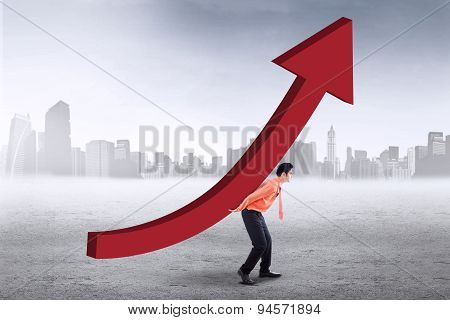 Successful Worker With Upward Chart