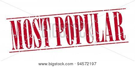 Most Popular Red Grunge Vintage Stamp Isolated On White Background