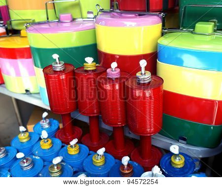 Oil Lamps Made Of  Recycled Cans And And Food Container, In Thailand
