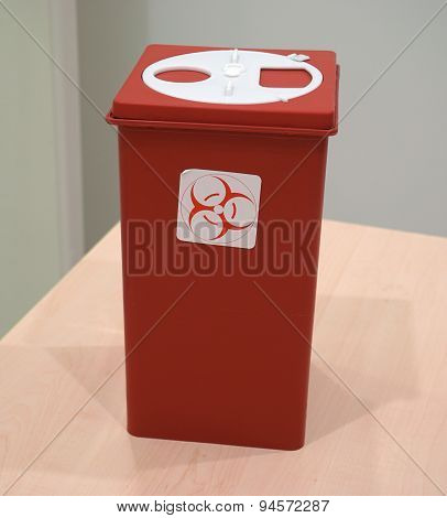 Sharps Collector Container On The Table
