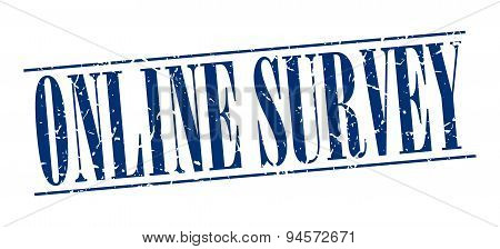 Online Survey Blue Grunge Vintage Stamp Isolated On White Background