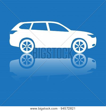 Car icon with reflection. Vector silhouette.