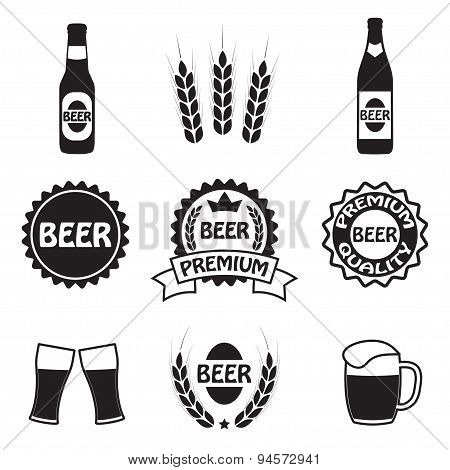 Beer icons, symbols and labels set. Vector.