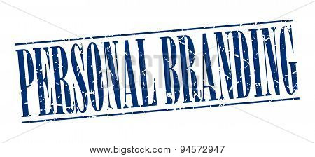Personal Branding Blue Grunge Vintage Stamp Isolated On White Background