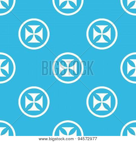 Maltese cross sign blue pattern