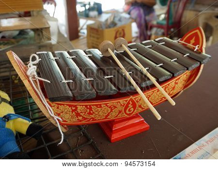 Vintage Thai Alto Xylophone, A Traditional Thailand Musical Instrument Known As 'ranad'