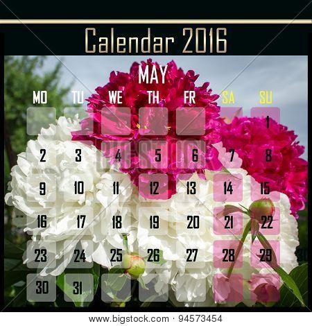 Floral 2016 Calendar Design For May