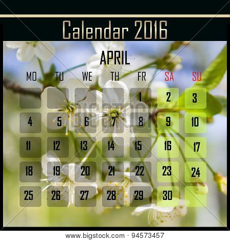 Floral 2016 Calendar Design For April