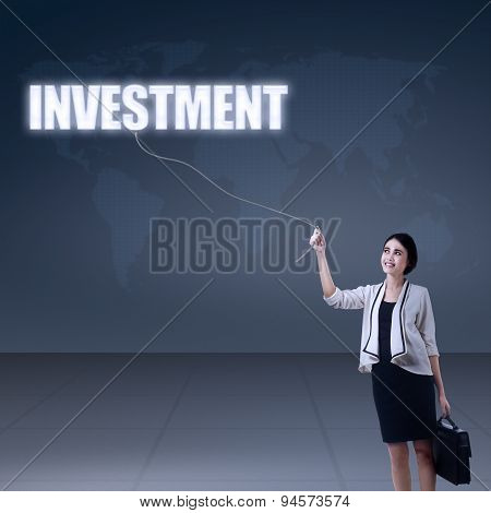 Young Businesswoman Holding A Investment Sign