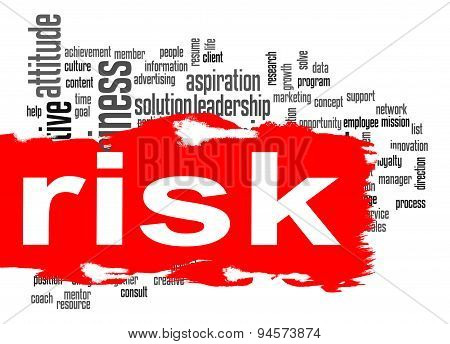Risk Word Cloud With Red Banner