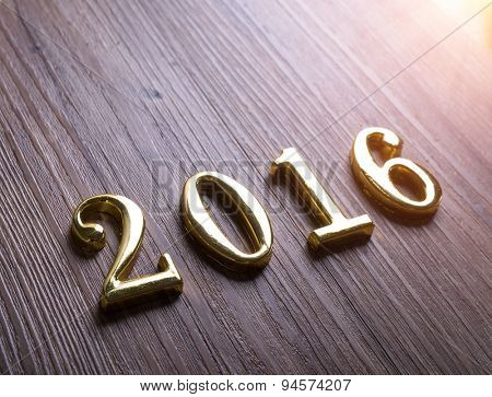 2016 on old wood background