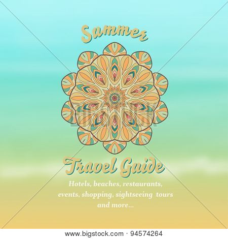 Summer travel guide advertising design, vector
