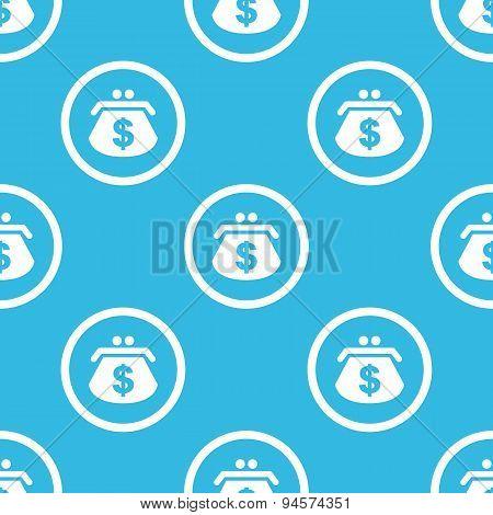 Dollar purse sign blue pattern