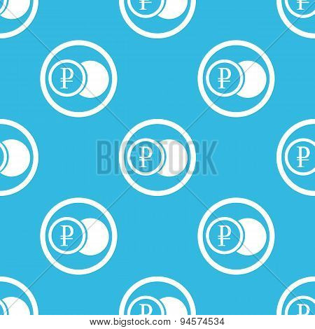 Ruble coin sign blue pattern