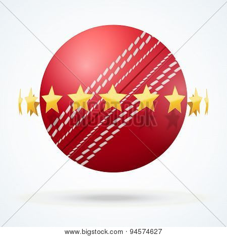 Vector illustration of cricket leather ball with golden stars