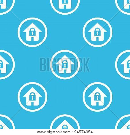 Locked house sign blue pattern