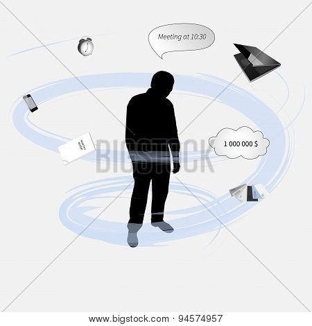Silhouette of a man under stress, vector illustration