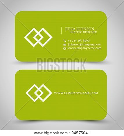 Business card set template. Green color.