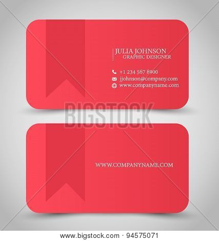 Business card set template. Red color.