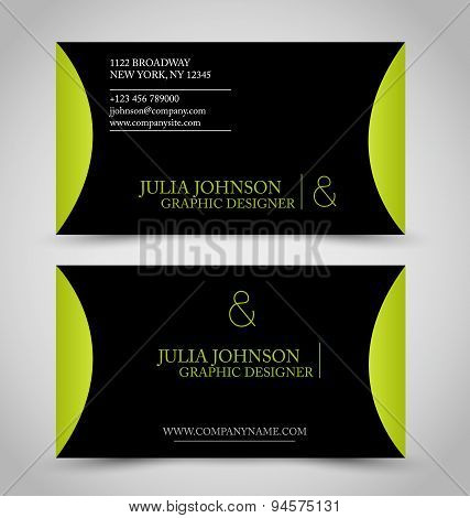 Business card set template. Green and black color.