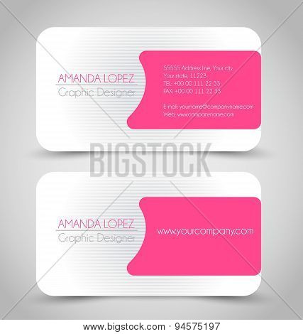 Business card set template. Pink color.