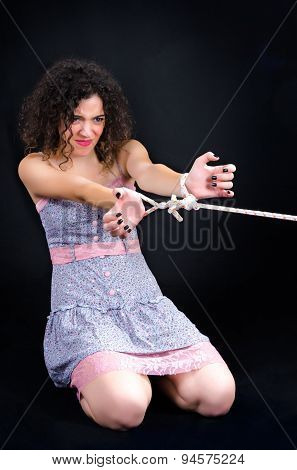 Attractive Woman With Bound Hands