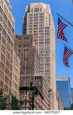 New York City Buildings And Flags