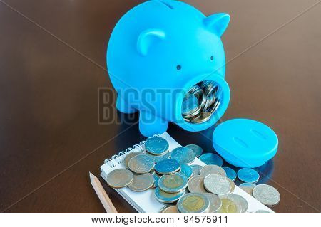 Planning Money With Saving From Piggy Bank