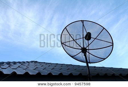 Satellite dish in Morning Blue Sky Background