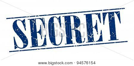 Secret Blue Grunge Vintage Stamp Isolated On White Background