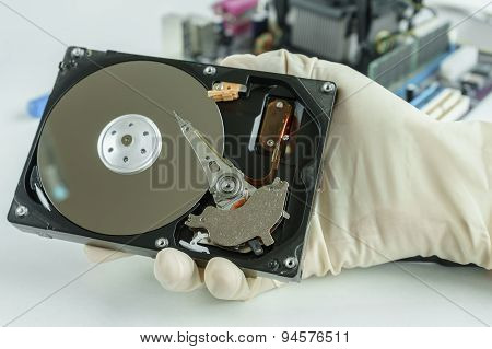 Opened Hard Disk Drive In Hand