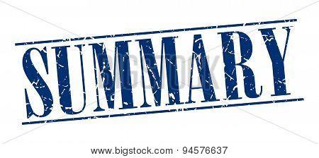 Summary Blue Grunge Vintage Stamp Isolated On White Background