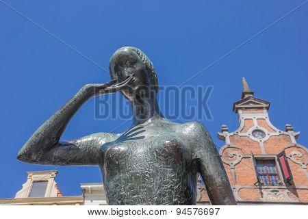 Bronze Statue Of Mariken Van Nieumeghen In Nijmegen