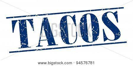 Tacos Blue Grunge Vintage Stamp Isolated On White Background