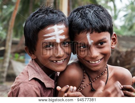 Two Indian Boys On The Street In Fishing Village
