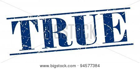 True Blue Grunge Vintage Stamp Isolated On White Background
