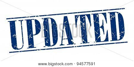 Updated Blue Grunge Vintage Stamp Isolated On White Background