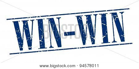 Win-win Blue Grunge Vintage Stamp Isolated On White Background