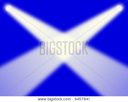 Scottish flag as spotlights concept