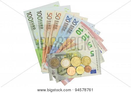 Euro coins and banknotes. Detailed view of the legal tender of the European Union, EU.