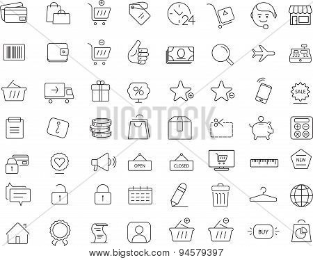 Shopping. 64 icons set. Thin line design.