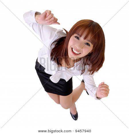 Happy Dancing Business Woman