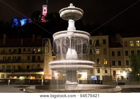 Fountain at night.