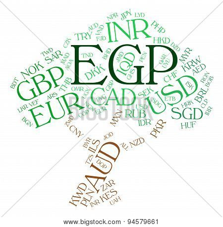 Egp Currency Represents Foreign Exchange And Coin
