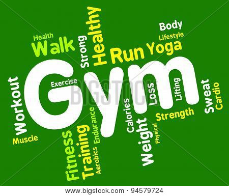 Fitness Wordcloud Indicates Physical Activity And Aerobic
