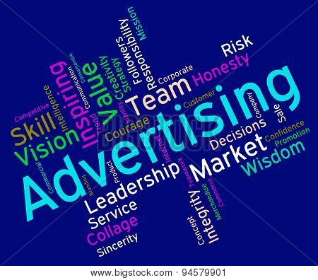 Wordcloud Advertising Shows Promotional Promote And Adverts