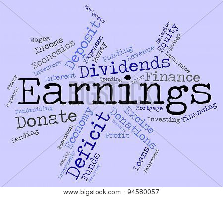 Earnings Word Indicates Dividend Words And Revenue