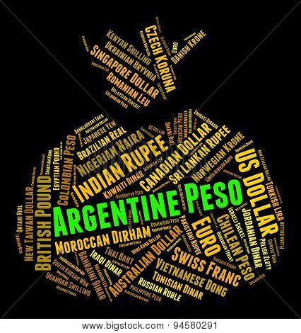 Argentine Peso Shows Currency Exchange And Banknotes
